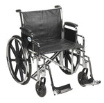 "Sentra EC Heavy Duty Wheelchair, Detachable Desk Arms, Swing away Footrests, 24"" Seat"