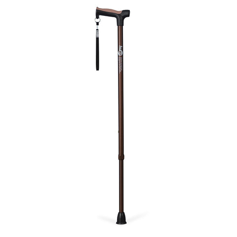Adjustable Derby Handle Cane with Reflective Strap, Cocoa
