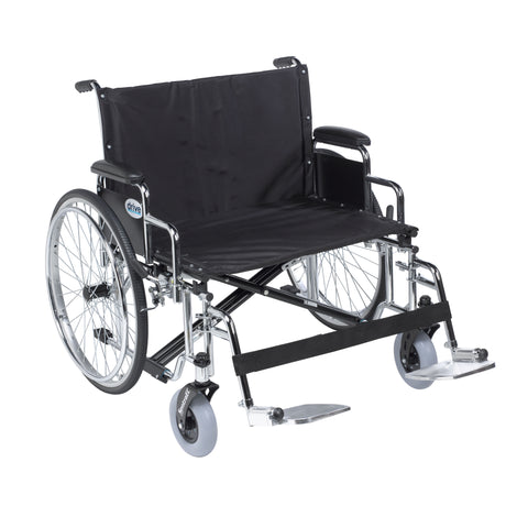 "Sentra EC Heavy Duty Extra Wide Wheelchair, Detachable Desk Arms, Swing away Footrests, 30"" Seat"