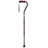 Adjustable Offset Handle Cane with Reflective Strap, Paisley