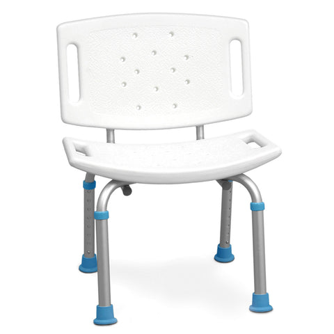 Adjustable Bath and Shower Chair with Non-Slip Seat and Backrest, White