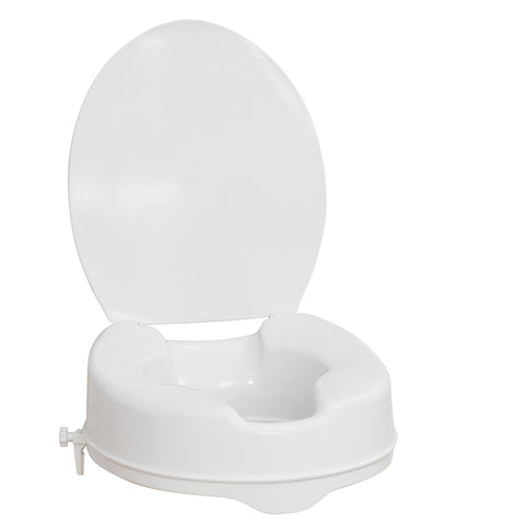 Raised Toilet Seat with Lid, White, 4""