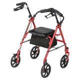 Four Wheel Rollator Rolling Walker with Fold Up Removable Back Support, Red