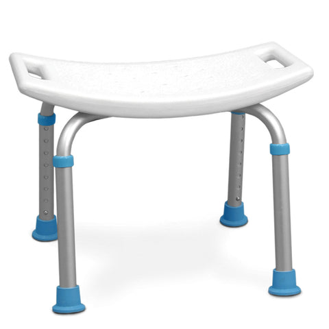 Adjustable Bath and Shower Chair with Non-Slip Seat, White