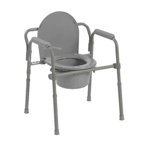 Steel Folding Deep Seat Bedside Commode, Gray