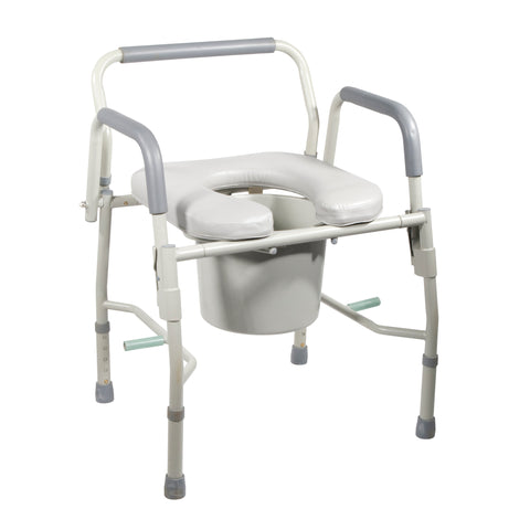 Steel Drop Arm Bedside Commode with Padded Seat and Arms