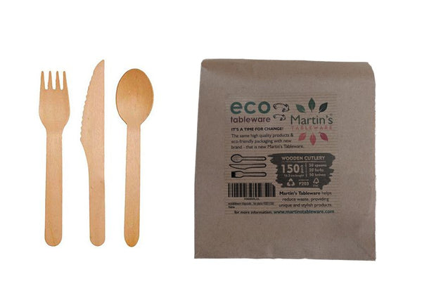 wooden cutlery 150pack - 50 forks, 50 knives & 50 spoons