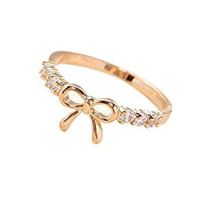 Crystal Bow Ring Silver Or Gold Plated