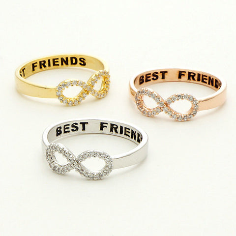 Engraved BEST FRIENDS Crystal Infinity Ring - MyDealznet