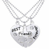 Best Friends Forever Heart Puzzle Necklaces 3 pcs - MyDealznet