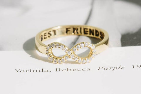 Crystal Best Friends Infinity Ring Gold, Silver,Rose Gold Plated - Dealznet