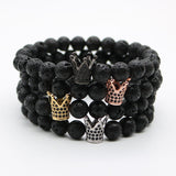Mens Kings Crown Power Bracelets Black Onyx or Lava - MyDealznet