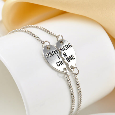 Partners In Crime Silver Bracelet 2pc Set - MyDealznet