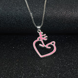 Pink Browning Buck & Doe Heart Necklace
