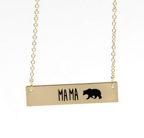 MAMA Bear Silver or Gold Plated Necklace