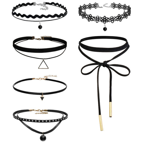 Goth Retro Velvet Lace Suede Choker Necklace 6pcs - MyDealznet