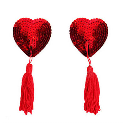 Sequin Heart Tassel Nipple Covers Pasties - MyDealznet
