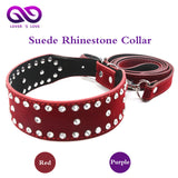50 Shades of Gray Red Suede Rhinestone Collar & Leash - MyDealznet