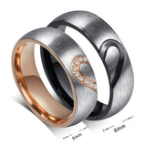 Puzzle Heart Couple Ring Cubic Zirconia, Black Gun, Rose Gold Plated. Price is 1 Ring - Dealznet