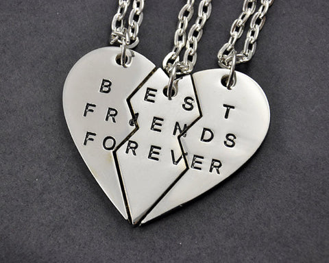 Best Friends Forever 3 pc Friendship Necklaces Gold or Silver Plated