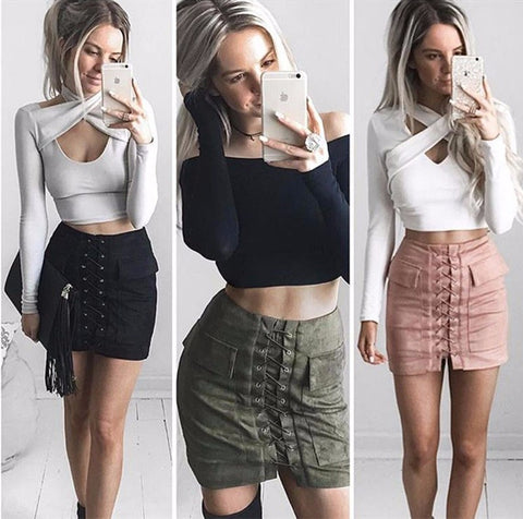 Lace Up Suede Skirt - Dealznet
