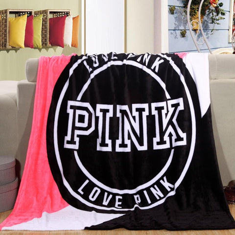 Love Pink Plush Throw Blanket - MyDealznet