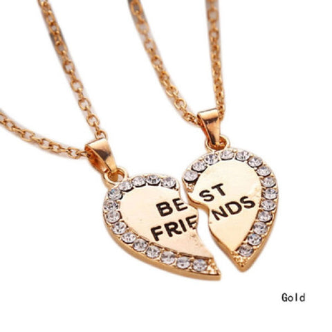 Rhinestone Heart Best Friends Necklaces Set of 2 - MyDealznet
