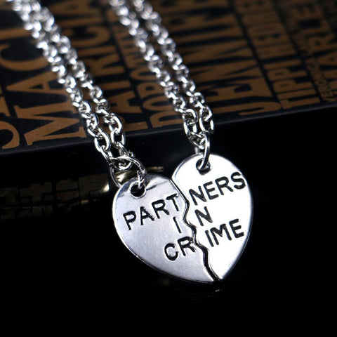 Partners in Crime Heart  2 pc Silver Necklaces*Quick Delivery US 3-5 days - Dealznet