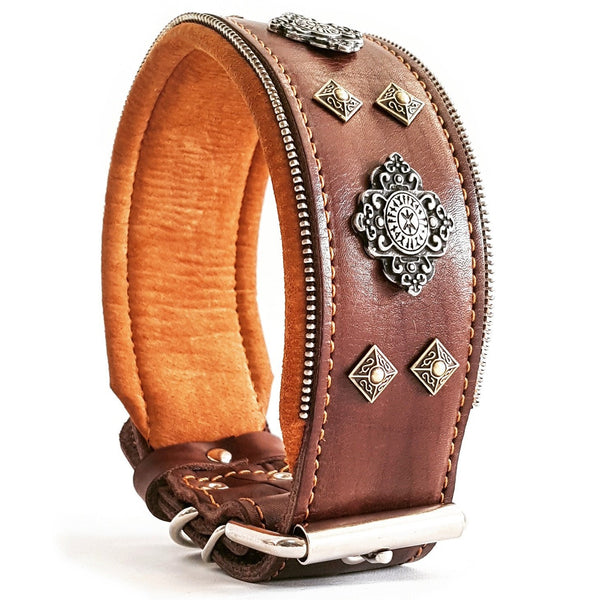 Bestia Aztec genuine leahter big dog collar