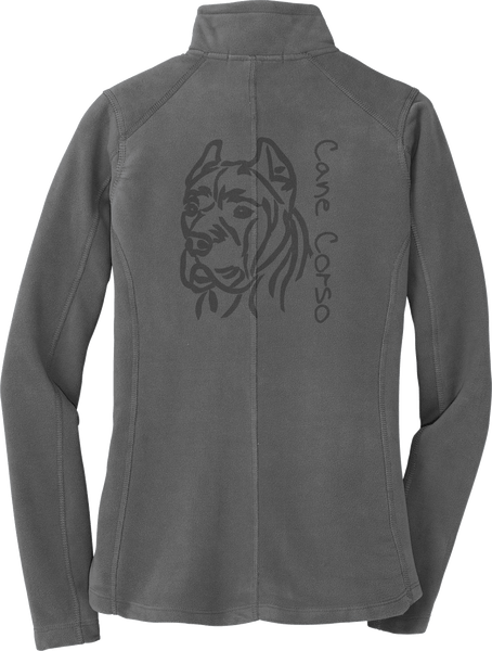 Womans Cane Corso Laser Etched Fleece Jacket Cropped
