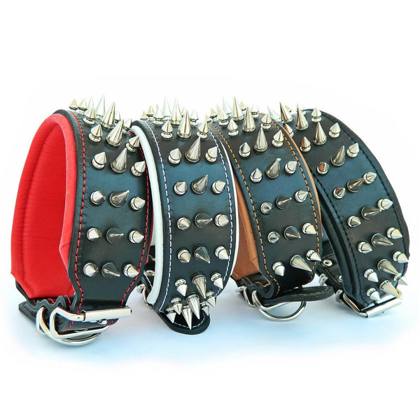 Bestia spiked leather dog collars