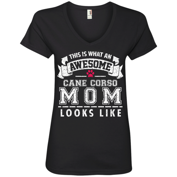 Awesome Mom Ladies' V-Neck Tee