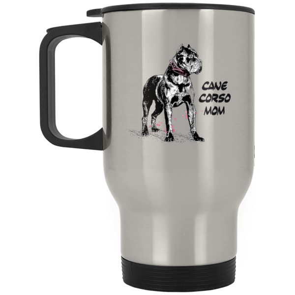 Cane Corso Mom Silver Stainless Travel Mug