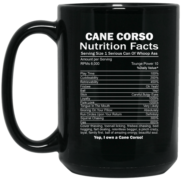 Cane Corso Nutrition Facts 15 oz Mug