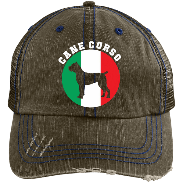 Italian Flag Cane Corso Distressed Unstructured Trucker Cap