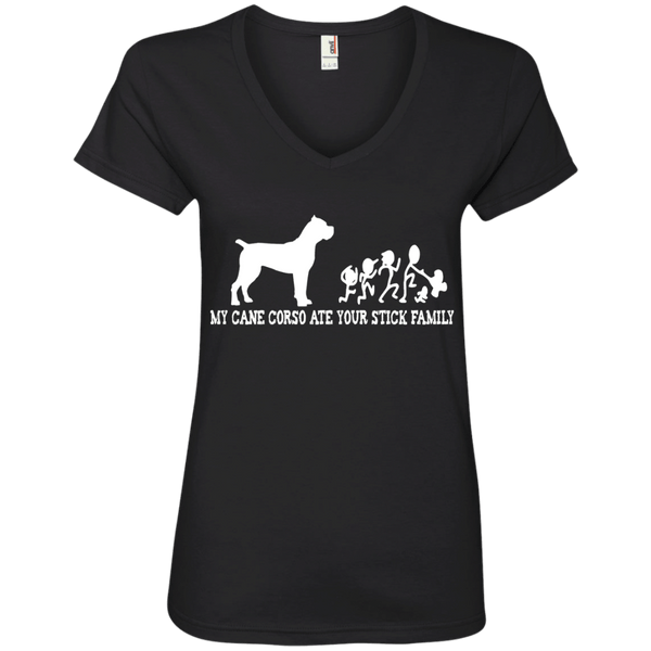 My Cane Corso Ate Your Stick Family Ladies' V-Neck Tee