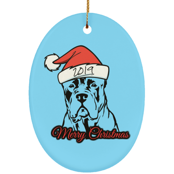 Merry Christmas 2019 Ceramic Oval Ornament