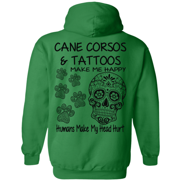 Cane Corso's and Tattoos Make Me Happy Skull Gildan Pullover Hoodie 8 oz.