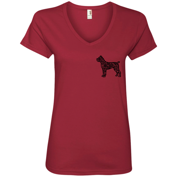 Cane Corso's and Tattoos Make Me Happy Ladies' V-Neck T-Shirt