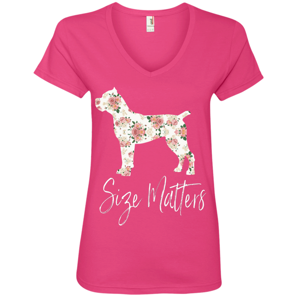 Size Matters Floral Ladies' V-Neck T-Shirt
