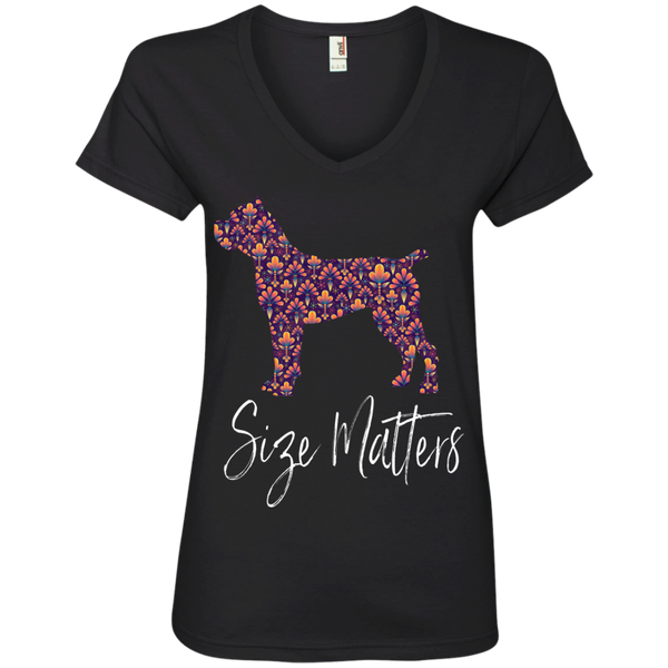 Size Matters Abstract Ladies' V-Neck T-Shirt
