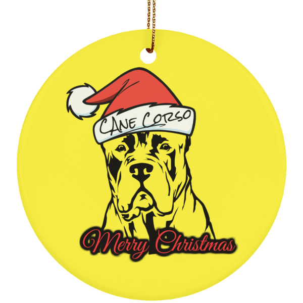 Merry Christmas Cane Corso Ceramic Circle Ornament