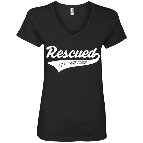 Rescued By A Cane Corso Ladies' V-Neck Tee
