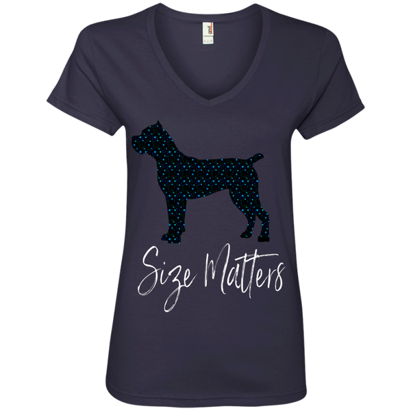 Size Matters Star Ladies' V-Neck T-Shirt