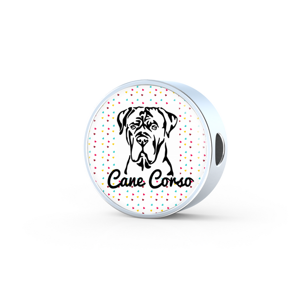 Cane Corso Natural Ears with Hearts Background