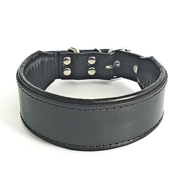 Bestia black leather dog collar