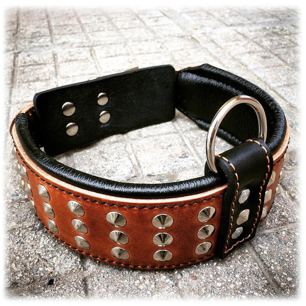 Bestia brown dog collar with studs