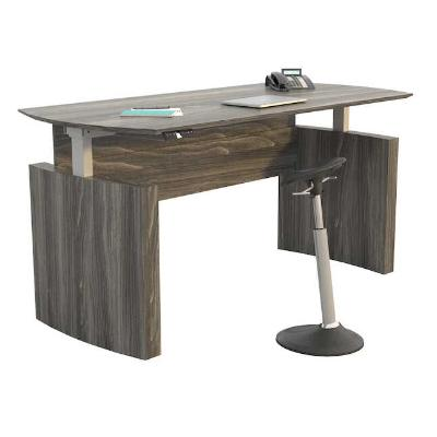 "Medina™ Height-Adjustable 72"" Curved Front Desk"