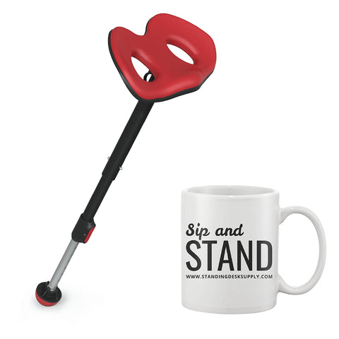 Focal Upright Leaning Stool Bundle - Mogo Seat with Limited Edition Mug - Standing Desk Supply