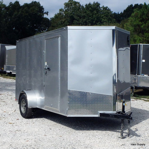"6x12 Single Axle V-Nose Cargo Trailer with Rear Ramp 15"" Radial Tires and LED Lights"